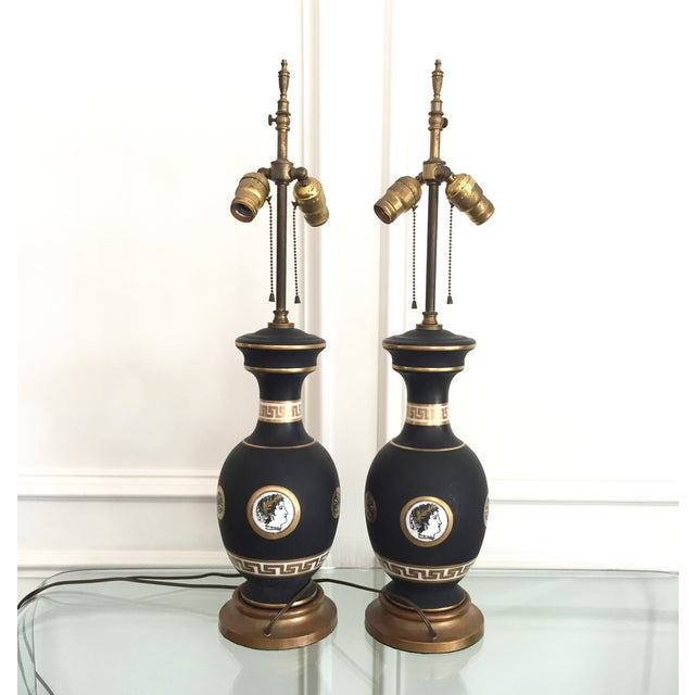 Black Porcelain Lamps with Gold Shades - A Pair - Image 3 of 11