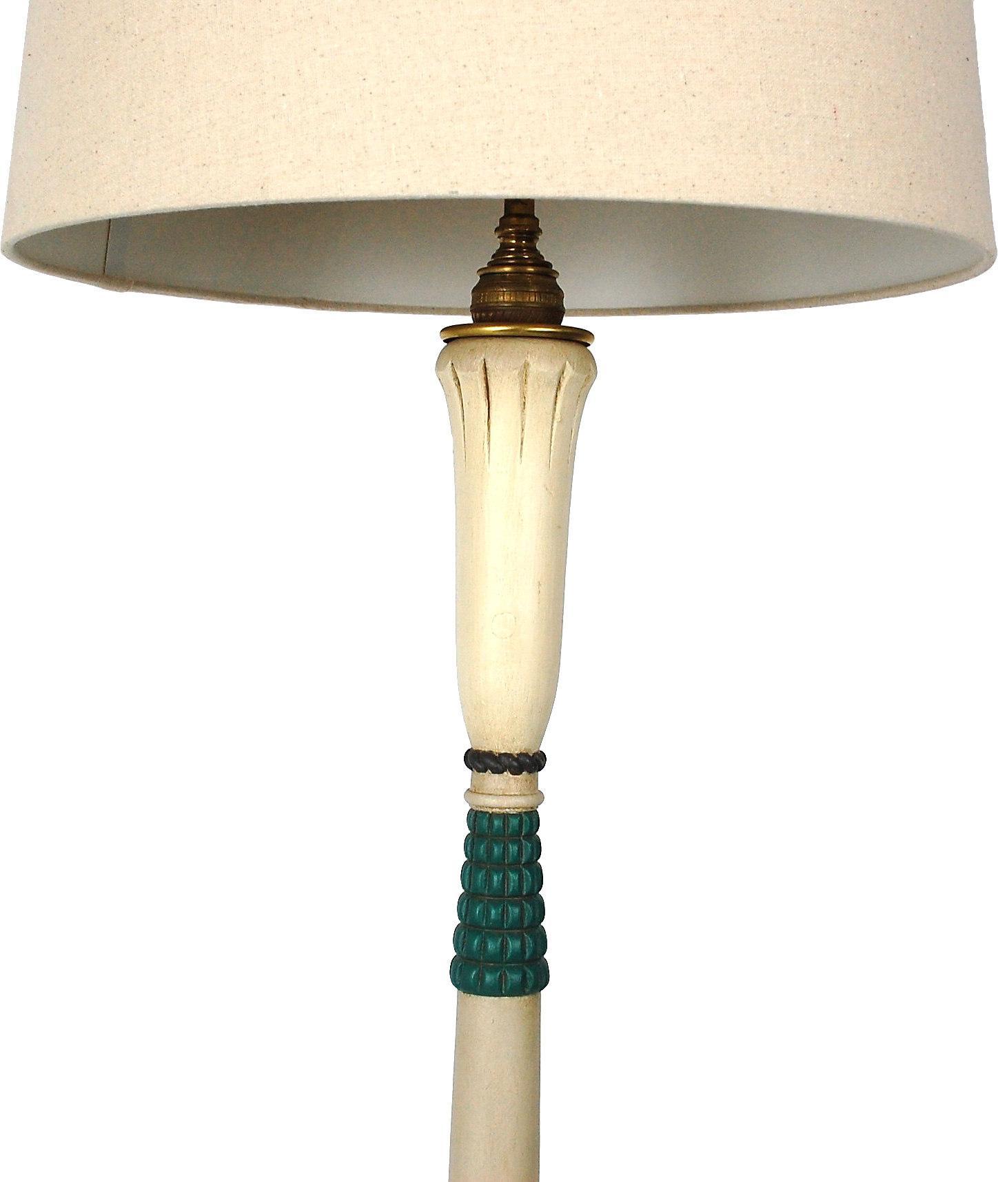 Art Deco Painted Wood Floor Lamp Chairish