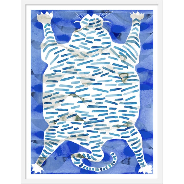 "Medium ""Tiger Rug Blue"" Print by Kate Roebuck, 27"" X 35"" For Sale - Image 4 of 4"