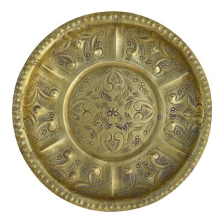 Engraved Moroccan Brass Tray For Sale