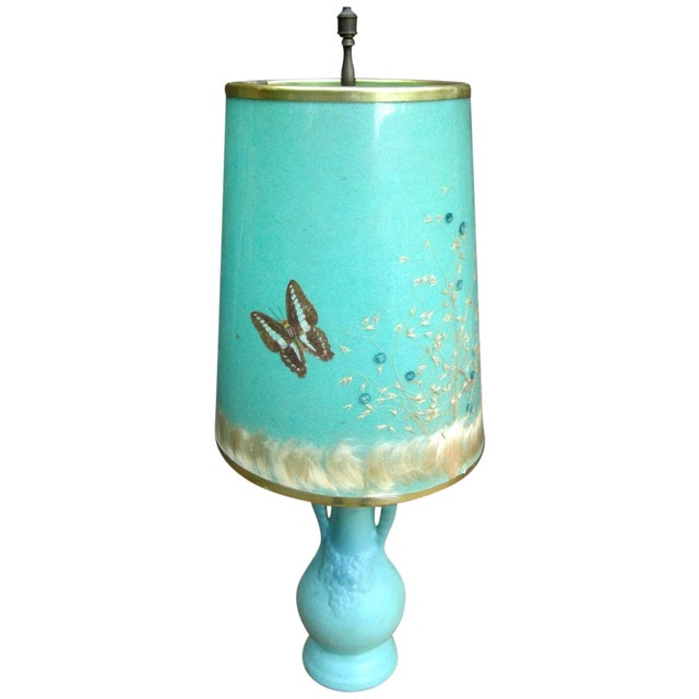 Van Briggle Turquoise Butterfly Lamp - Image 1 of 8