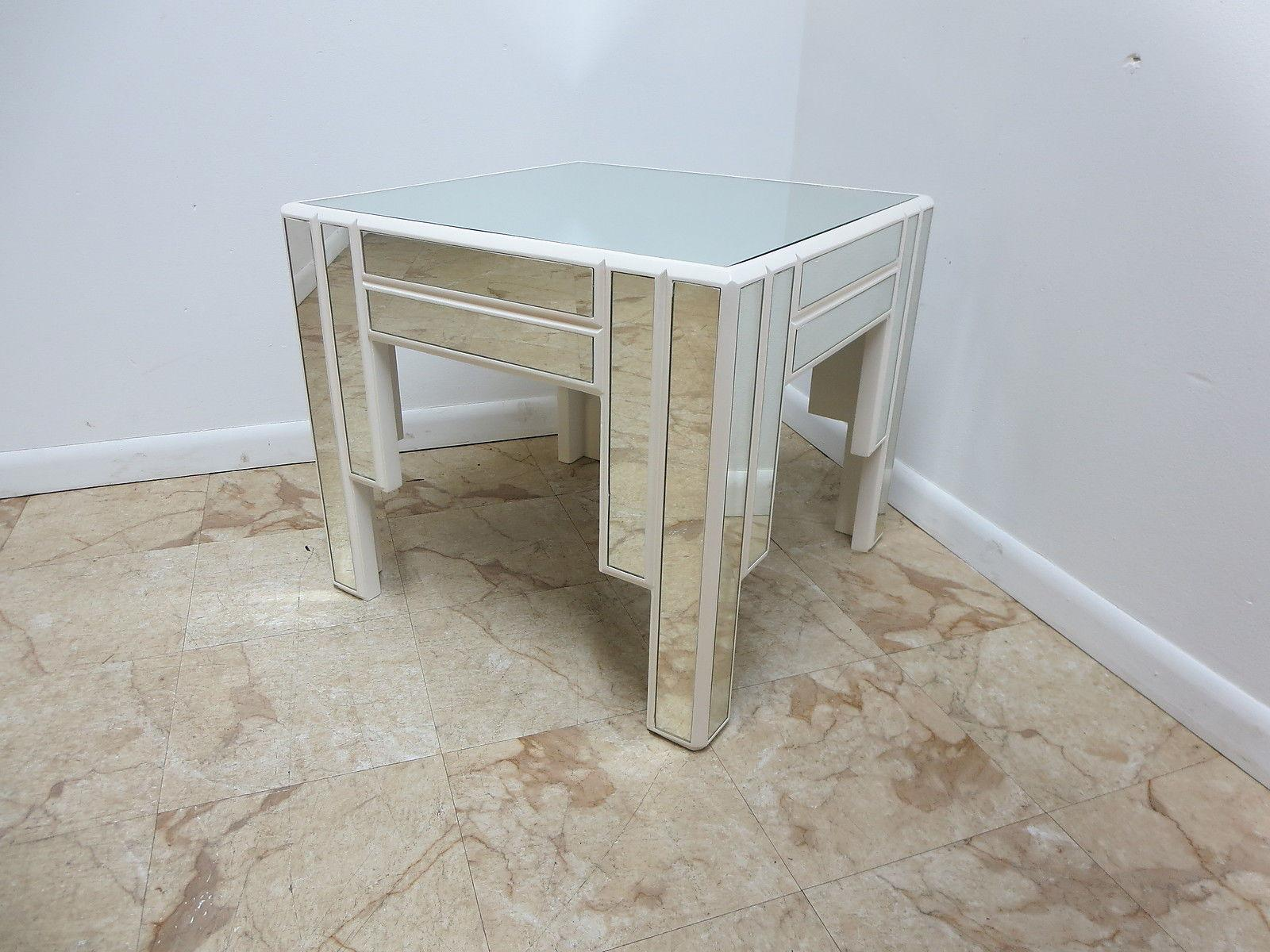 Vintage Mid Century Karl Springer Mirrored Parsons Side Table   Image 2 Of 7