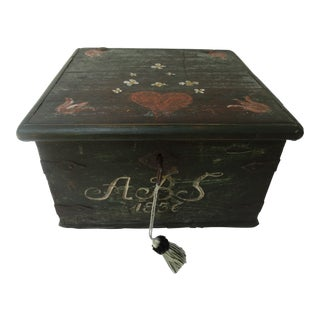 19th-Century Swedish Marriage Chest Bride's Box Chest Trunk 1836, Lock & Key For Sale