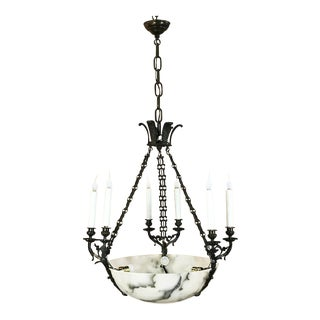 Antique French Empire Alabaster & Bronze Chandelier For Sale