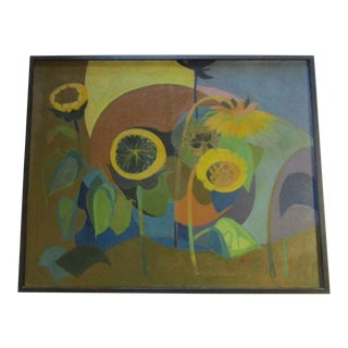 Margaret Gates Painting 1960 Mid Century Modernism Abstract Cubism Sunflowers For Sale