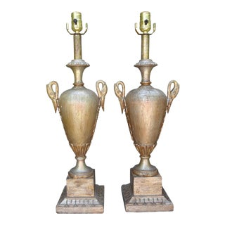 Italian Neoclassical Style Silver Giltwood Lamps - a Pair For Sale