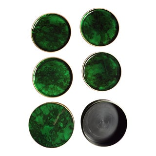 Mid Century Lacquer Faux Malachite Gilt Rimmed Coasters in Box - Set of 4 For Sale