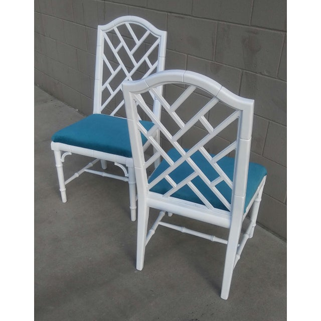 Wood Century Chippendale White Faux Bamboo Chairs - a Pair For Sale - Image 7 of 10