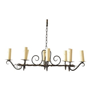 Vintage Elongated Iron Chandelier For Sale