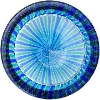 Fratelli Toso Murano Blue Green Ribbons Italian Art Glass Decorative Dish Bowl For Sale