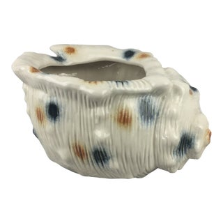 Vintage Spotted Sea Shell Ceramic Planter Pot For Sale