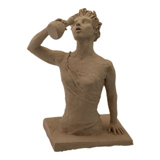 """""""Woman With a Water Jar"""" Contemporary Figurative Stoneware Sculpture by Sarah Myers For Sale"""