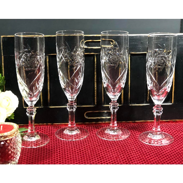 Metal Mid 20th Century Cristal De Paris Lead Crystal Hand Cut Champagne Glasses - Set of 4 For Sale - Image 7 of 8