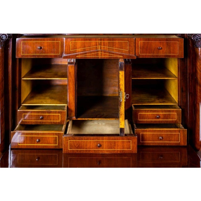 Biedermeier Secretary Desk Veneered with Mahogany, circa 1840 For Sale - Image 9 of 13