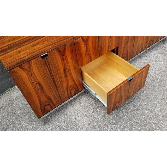 Wood Custom Bookmatched Brazilian Rosewood Florence Knoll Media Cabinet For Sale - Image 7 of 13