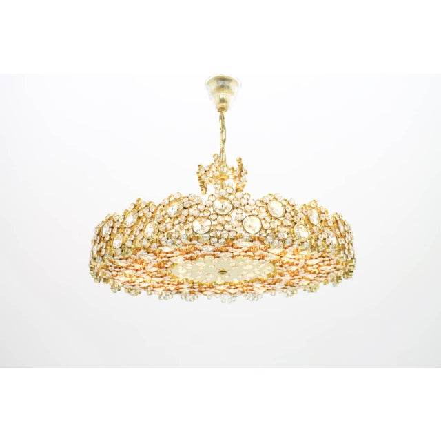 Large Gilded Brass and Crystal Glass Chandelier by Palwa, Germany 1960s For Sale - Image 10 of 11