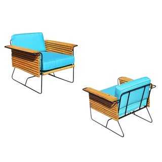 Restored Pair of Wroughtan Iron and Rattan Ski Club Chairs by Shirley Ritts For Sale