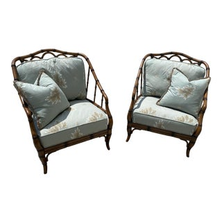 Palecek Mid-Century Bamboo Outdoor Chairs - A Pair For Sale