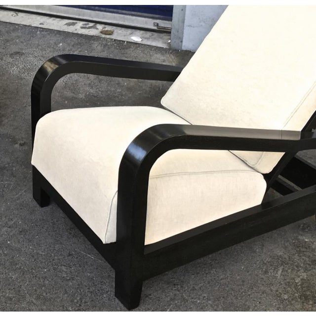 Pair of France 50s Exceptional Leaning Comfy Lounge Chairs Fully Restored For Sale - Image 6 of 8