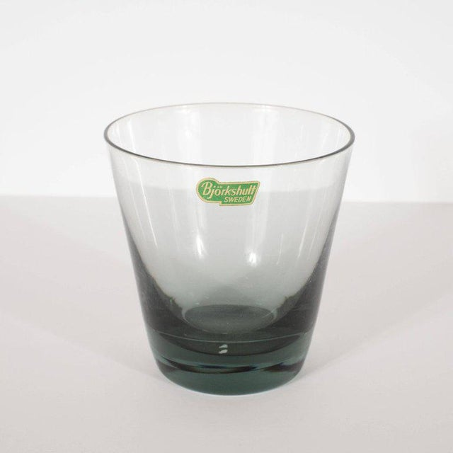 1960s Set of 12 Mid-Century Modern Swedish Smoked Gray Low Ball Glasses by Björkshult For Sale - Image 5 of 7