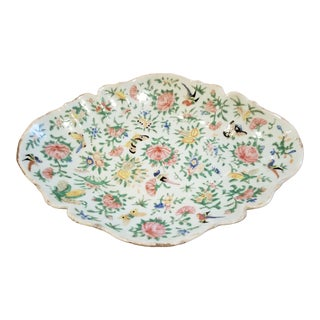 Chinese Porcelain Bird and Butterfly Serving Dish For Sale