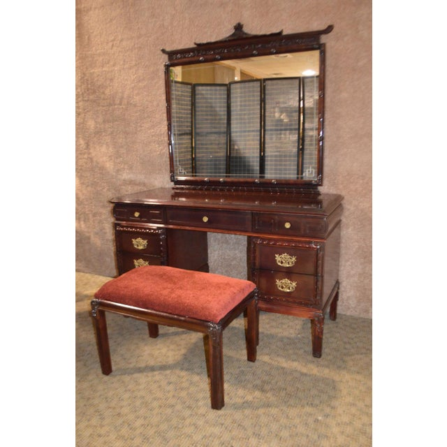 1950s Vintage Asian Inspired Mahogany Vanity Desk & Bench - 2 Pieces For Sale - Image 13 of 13