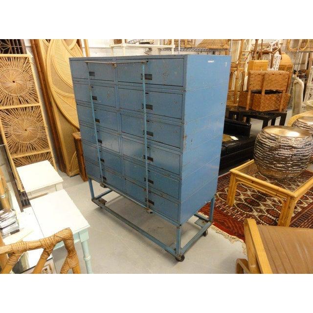 Vintage Blue Industrial Metal Cabinet - Image 7 of 11