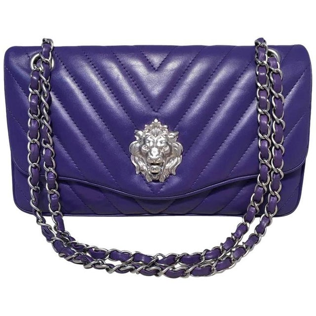 ad909118795f54 Chanel Purple Lambskin Leather Lion's Head Classic Flap Shoulder Bag For  Sale - Image 10 of