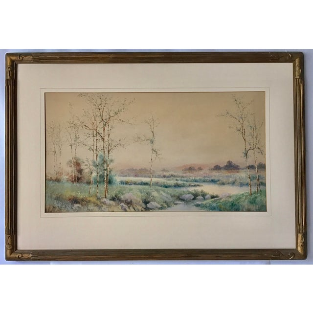 6a46df829 Original watercolor and gouache landscape painting by William George  Russell, signed lower left. William