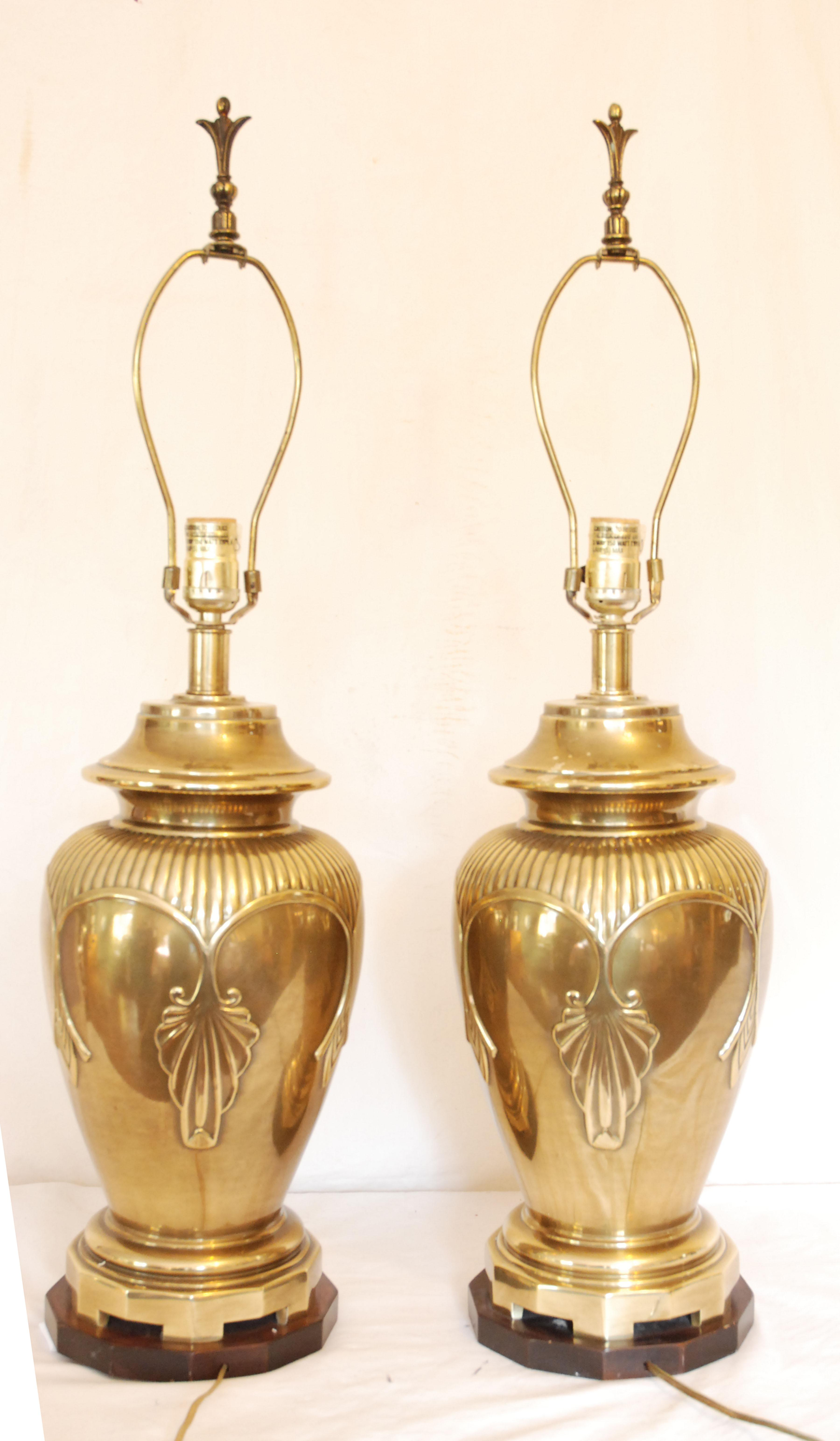 Exceptional Elegant Vintage Brass Asian Style Ginger Jar Lamps   A Pair   Image 4 Of 6