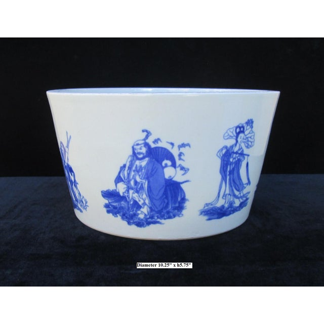 Chinese Blue & White Porcelain 8 Immortal Pot/Bowl - Image 2 of 7