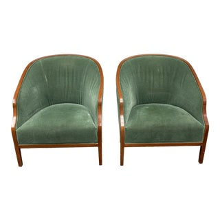 Mid 20th Century Geiger Furniture Bucket Chair in Dusty Green Mohair - a Pair For Sale