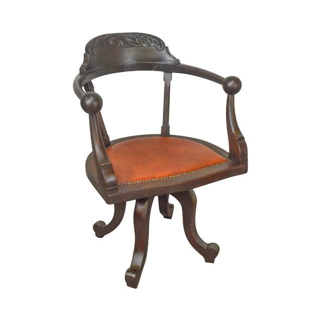 Victorian Antique Mahogany Swivel Desk Chair For Sale - Image 13 of 13