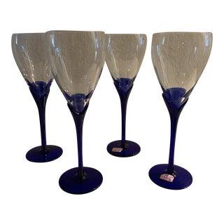 1980s Blue Lily Stem Glasses - Set of 4 For Sale