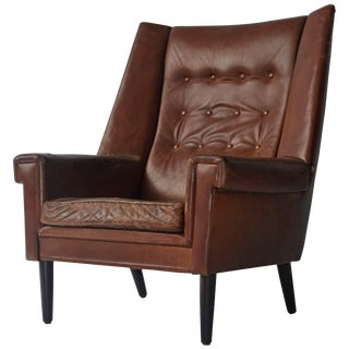 High Back Danish Lounge Chair For Sale