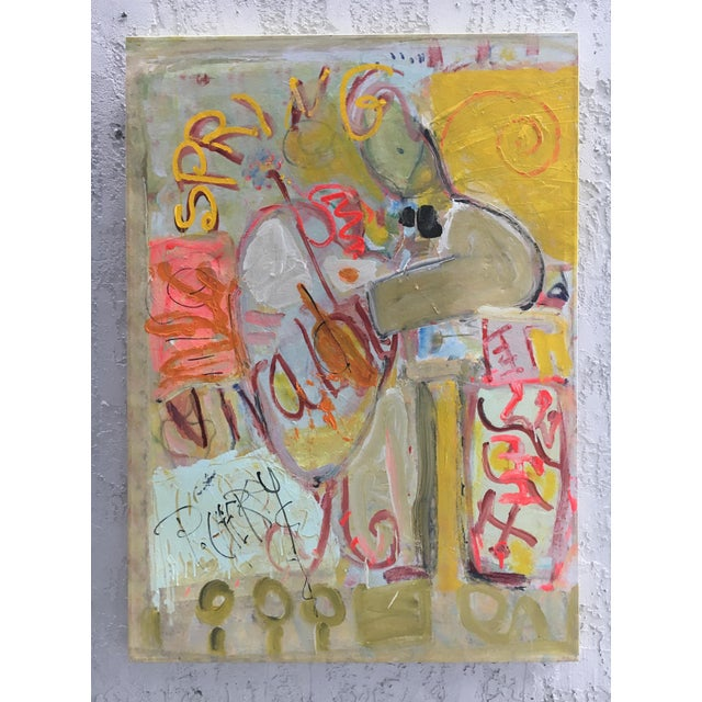 Abstract Expressionist Whimsical Painting on Canvas For Sale - Image 9 of 9