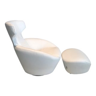 Edito Swivel Lounge Chair and Ottoman Set by Roche Bobois For Sale