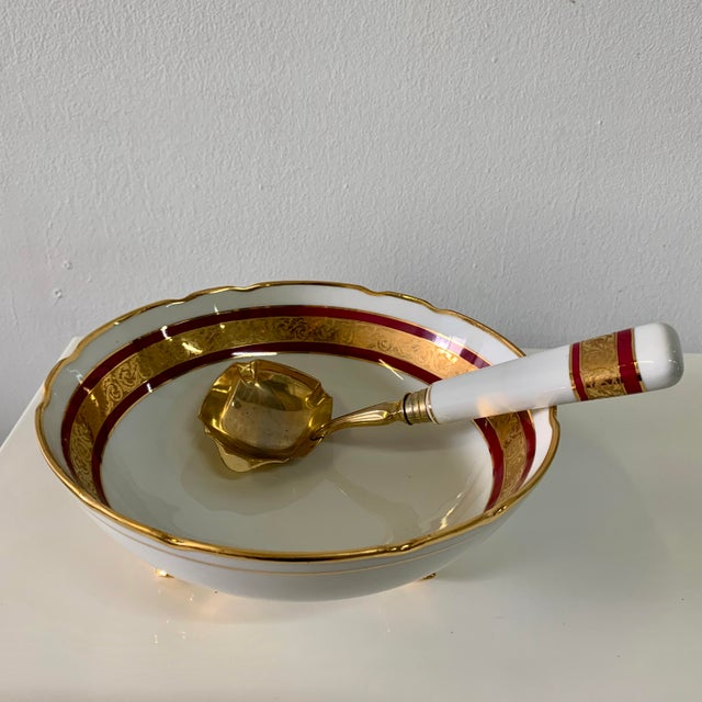 Antique White Vintage Limoges France Footed Bowl and Ladle For Sale - Image 8 of 13