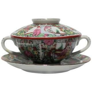 Vintage Famille Rose Tea or Soup Set For Sale