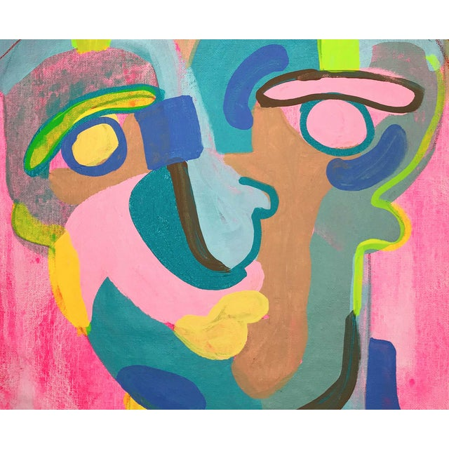 """Contemporary Abstract Portrait Painting """"Let's Have Some Fun"""" - Framed For Sale - Image 4 of 8"""