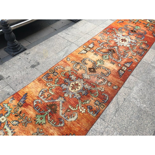 Abstract Turkish Handmade Hallway Runner Rug For Sale - Image 3 of 10