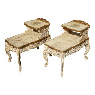 French Provincial Rococo Hand Painted End Tables - Pair
