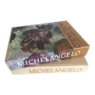 """The Complete Work of Michelangelo "" Slip Case Box Monumental Xtra Large Collector Vintage 1965 1st Edtn Book"