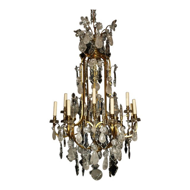 Antique Chandelier. Rock Crystal Chandelier by Baccarat For Sale