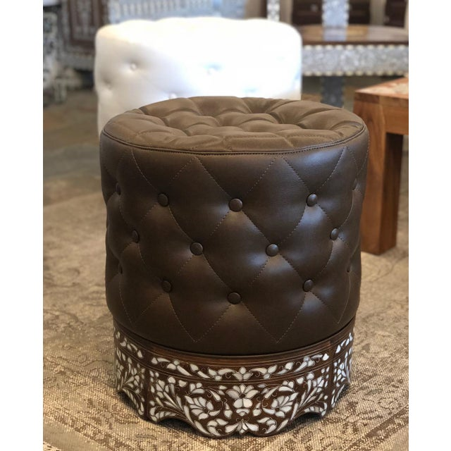 This is incredibly beautiful mother of pearl inlay stool with leather upholstery. The stool inlaid with natural mother of...