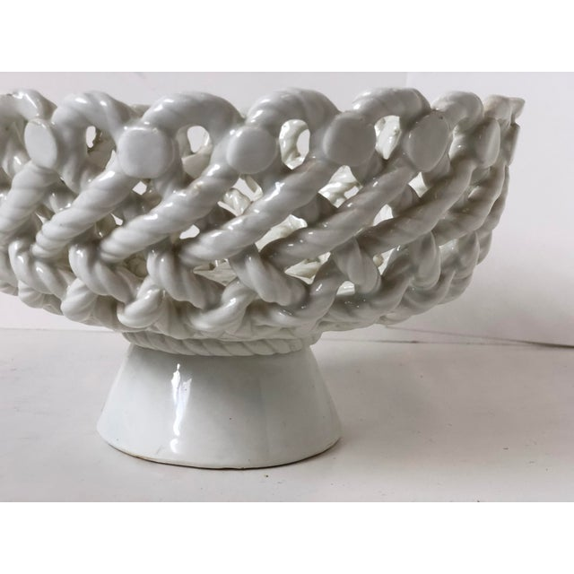 Italian Woven Rope White Ceramic Compote For Sale - Image 9 of 12