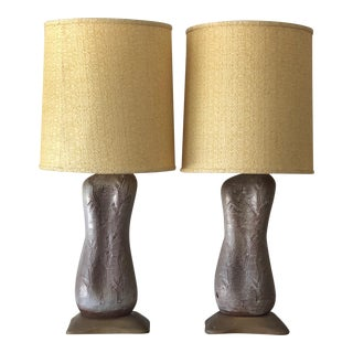 1950s Mid-Century Modern Design Technics Unusual Ceramic Lamps - a Pair For Sale