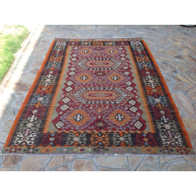 Vintage Turkish Kilim Rug - 6′10″ × 10′ - Image 2 of 7