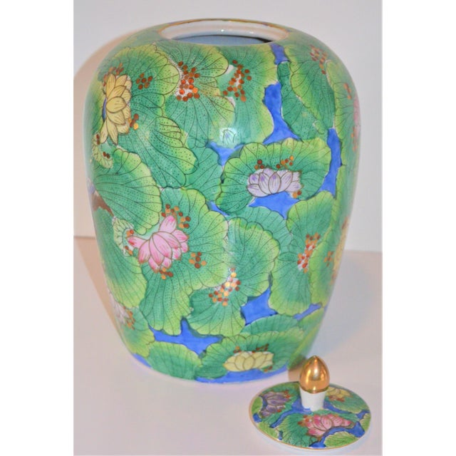 Kelly Green (Price Firm) Chinese Lotus and Swallow Ginger Jar For Sale - Image 8 of 9