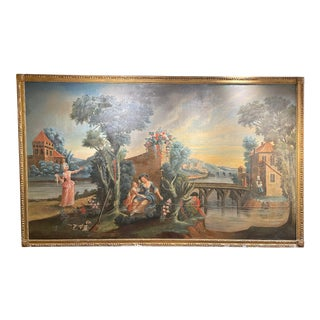 Monumental 19th Century Continental School Court-Side Oil on Canvas Painting For Sale